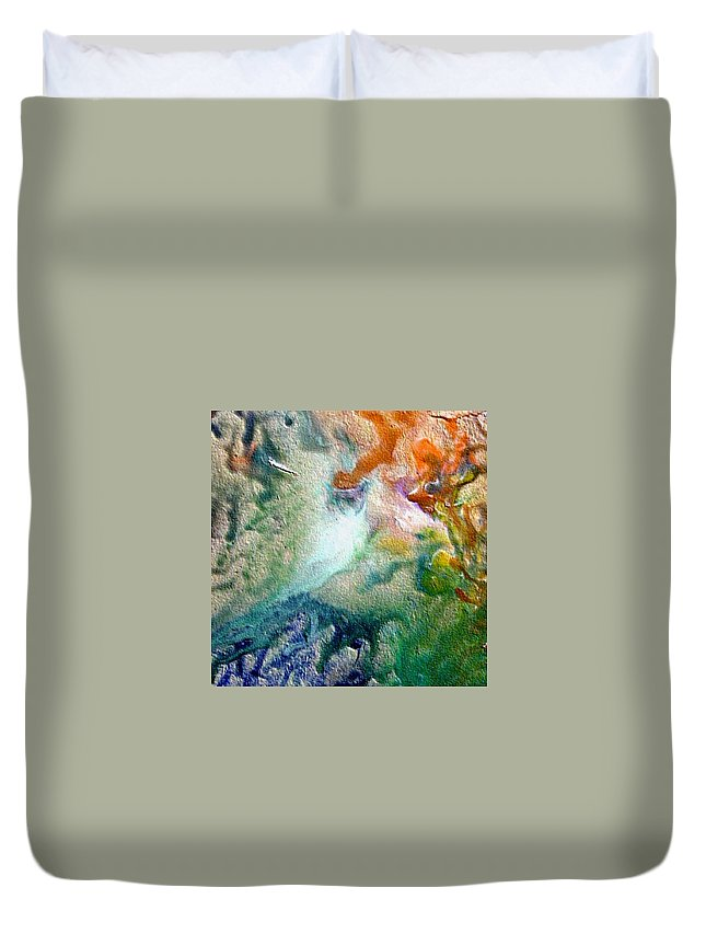 Encaustic Painting Duvet Cover featuring the painting W 023 by Dragica Micki Fortuna
