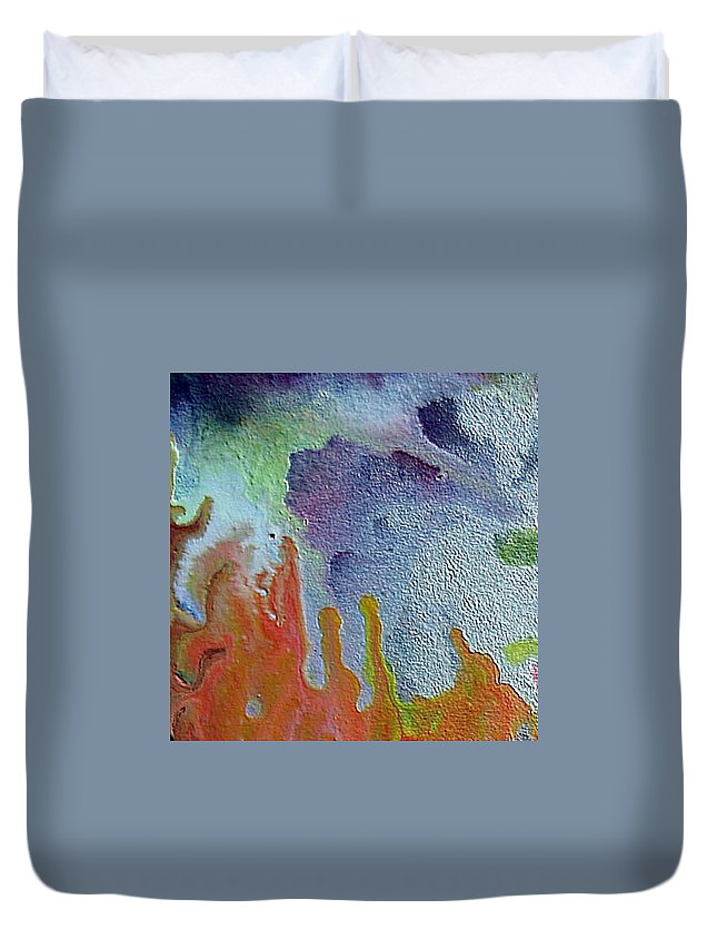 Abstract Encaustic Painting Duvet Cover featuring the painting W 049 by Dragica Micki Fortuna