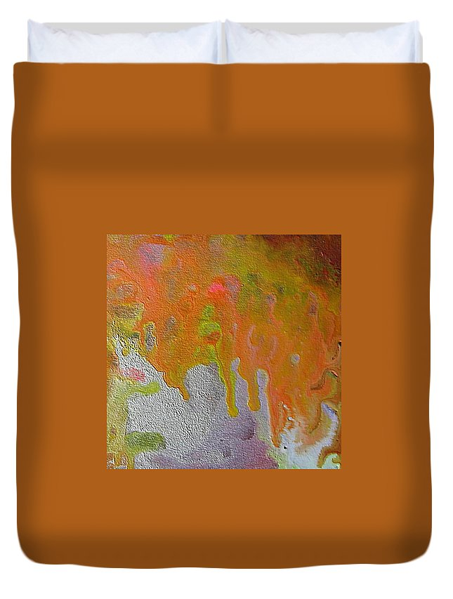 Abstract Encaustic Duvet Cover featuring the painting W 050 by Dragica Micki Fortuna
