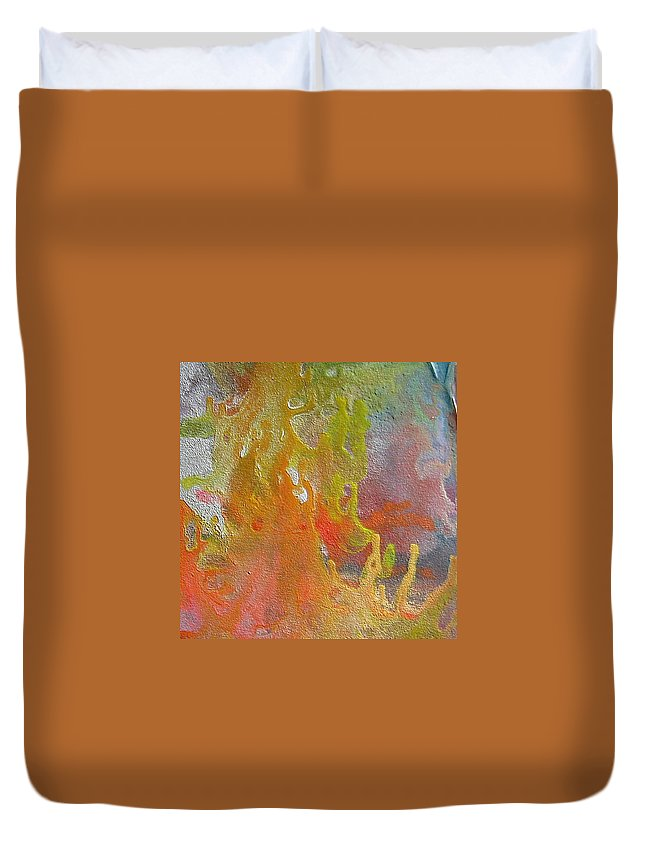 Abstract Encaustic Painting Duvet Cover featuring the painting W 052 by Dragica Micki Fortuna