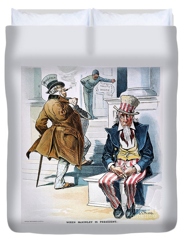 1896 Duvet Cover featuring the photograph W. Mckinley Cartoon, 1896 by Granger