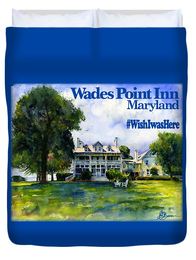Maryland Duvet Cover featuring the painting Wades Point Inn Shirt by John D Benson