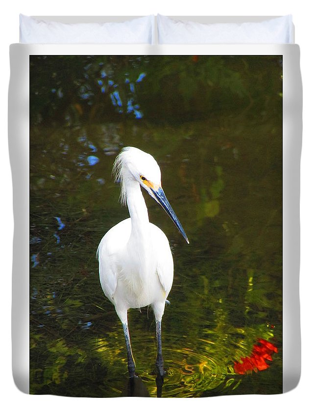 Snowy Egret Duvet Cover featuring the photograph Wadin by ChaNooga Annie