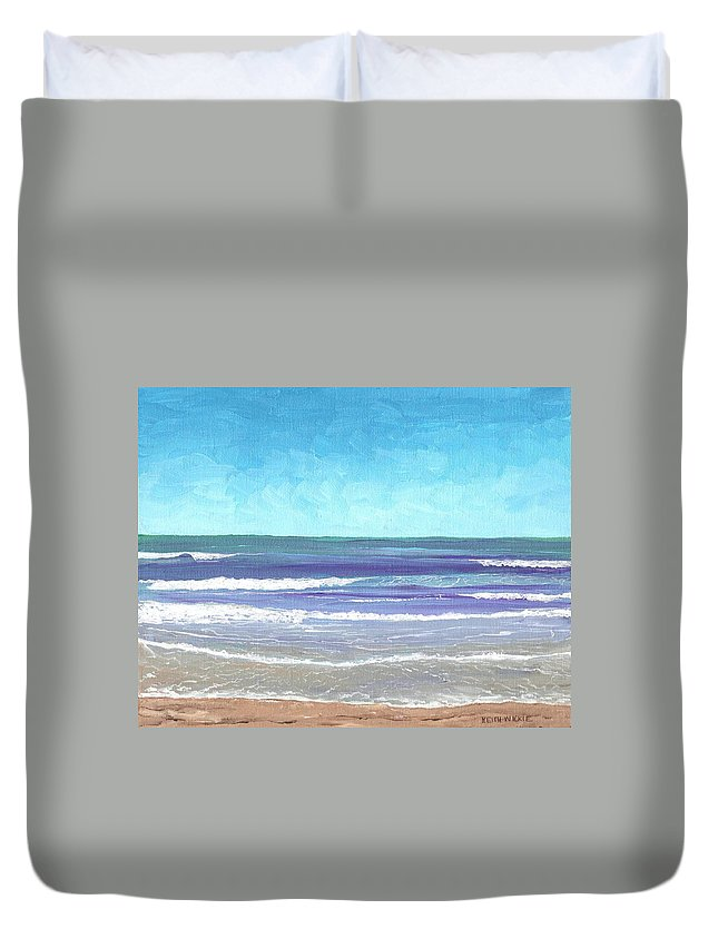 Surf Duvet Cover featuring the painting Wading Surf by Keith Wilkie