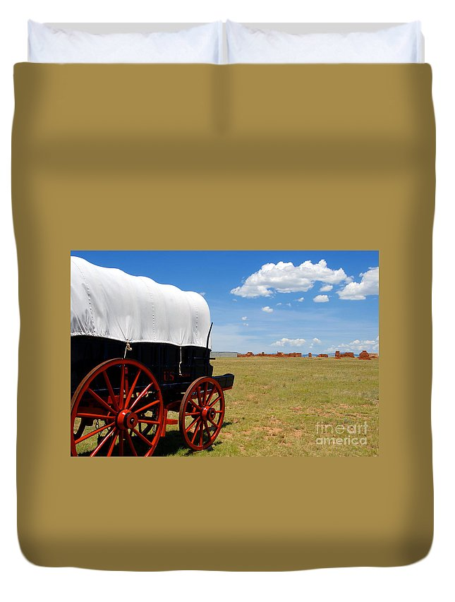 Fort Union New Mexico Duvet Cover featuring the photograph Wagon At Old Fort Union by David Lee Thompson