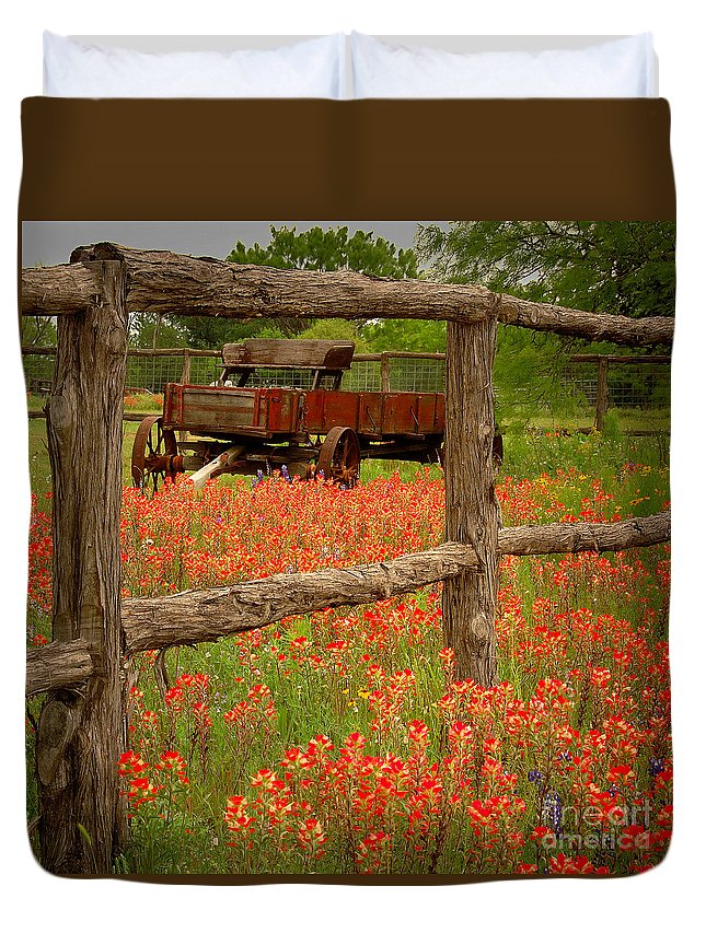 Spring Duvet Cover featuring the photograph Wagon In Paintbrush - Texas Wildflowers Wagon Fence Landscape Flowers by Jon Holiday