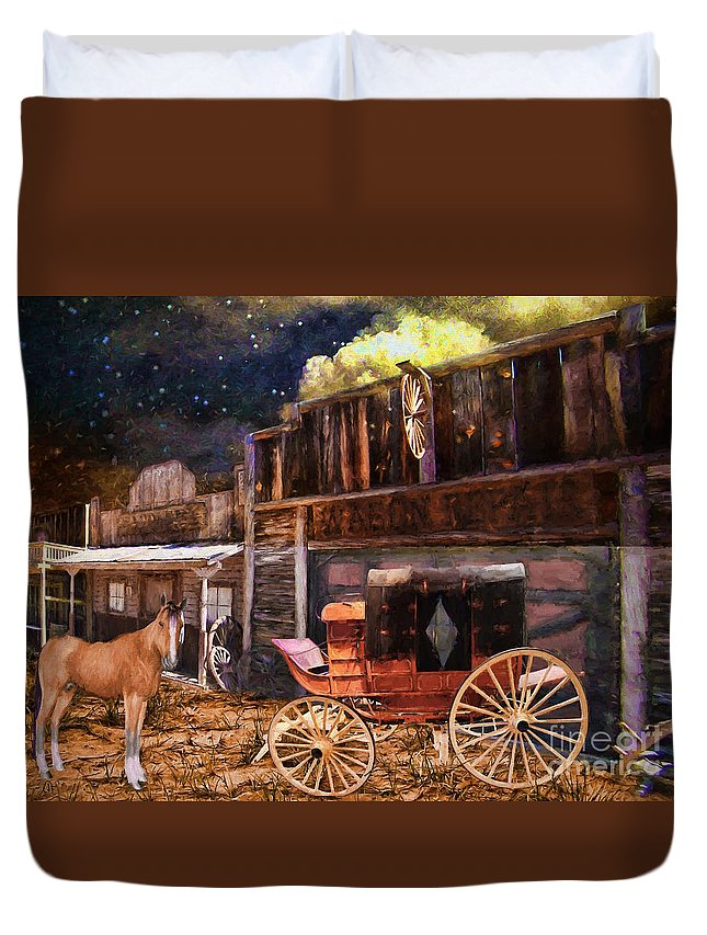 Wagon Repair Duvet Cover featuring the painting Wagon Repair by L Wright