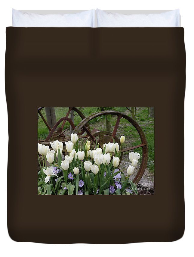 White Duvet Cover featuring the photograph Wagon Wheel Tulips by Louise Magno