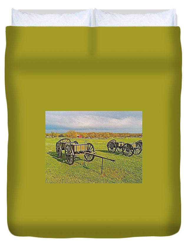 Wagons Used In The Civil War In Gettysburg National Military Park Duvet Cover featuring the photograph Wagons Used In The Civil War In Gettysburg National Military Park-pennsylvania by Ruth Hager