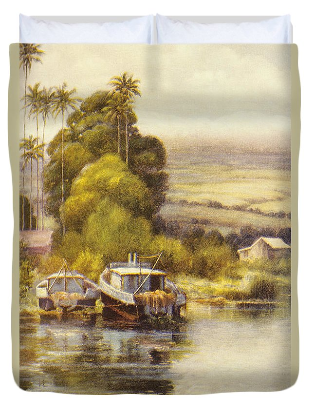 1922 Duvet Cover featuring the painting Waiakea Vintage Art by Hawaiian Legacy Archive - Printscapes