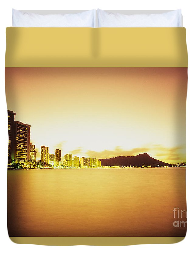 Building Duvet Cover featuring the photograph Waikiki At Sunset by Peter French - Printscapes