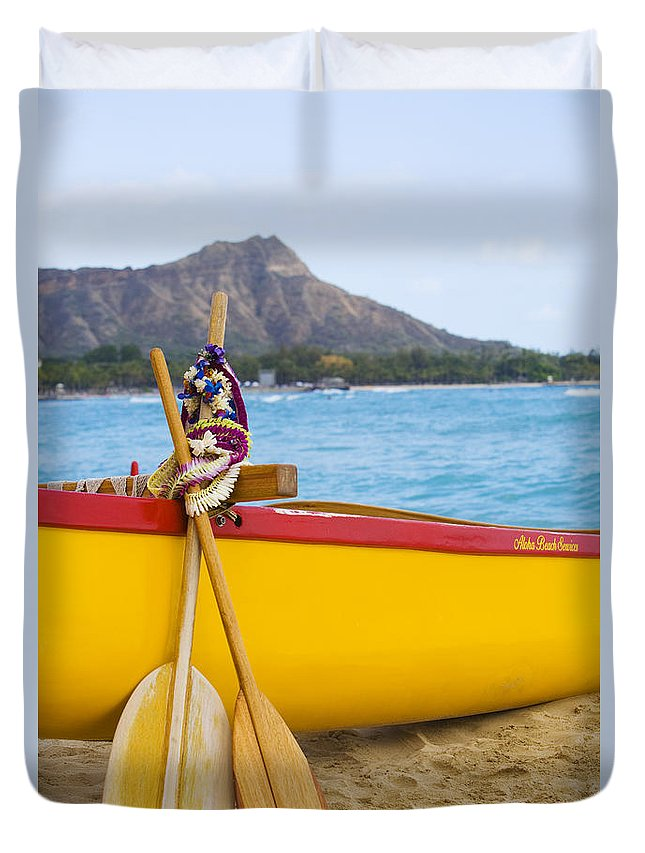 Ashore Duvet Cover featuring the photograph Waikiki Canoe Paddles by Dana Edmunds - Printscapes