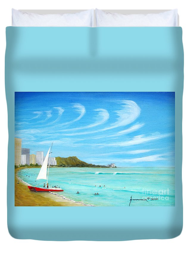 Waikiki Duvet Cover featuring the painting Waikiki by Jerome Stumphauzer