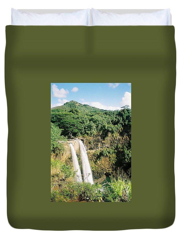 Wailua Falls Duvet Cover featuring the photograph Wailua Falls by June Goggins
