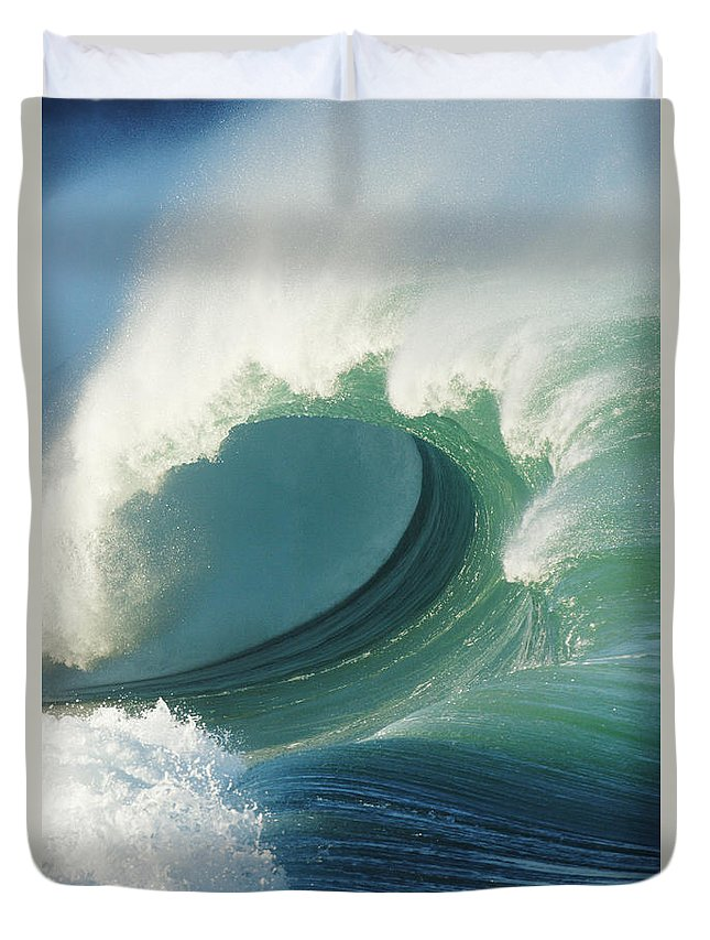 Aqua Duvet Cover featuring the photograph Waimea Bay Shorebreak by Vince Cavataio - Printscapes