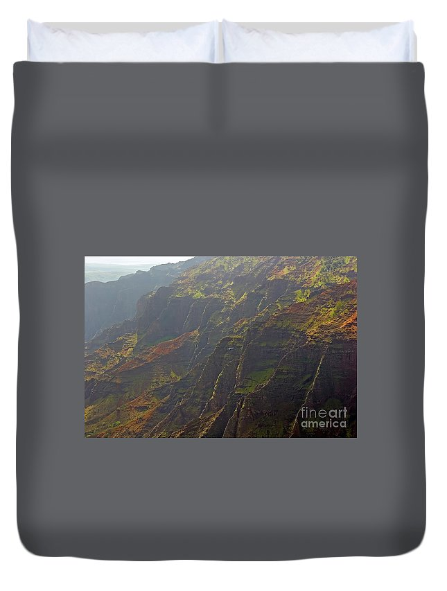 Landscape Duvet Cover featuring the photograph Waimea Canyon On A Misty Day In Kauai by Louise Heusinkveld