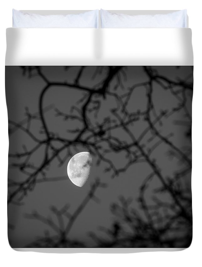 Waning Gibbous Duvet Cover featuring the photograph Waning Black And White by Michele James