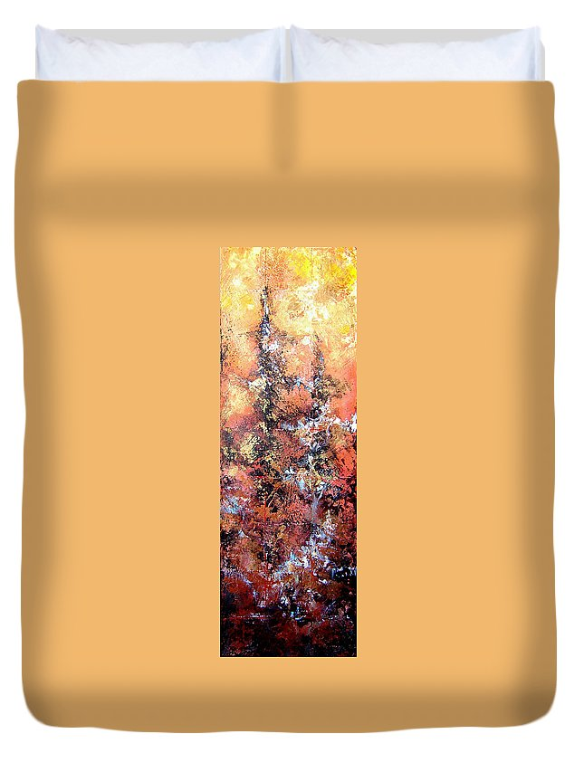 Tile Duvet Cover featuring the painting Wait For Sleep by Shadia Derbyshire