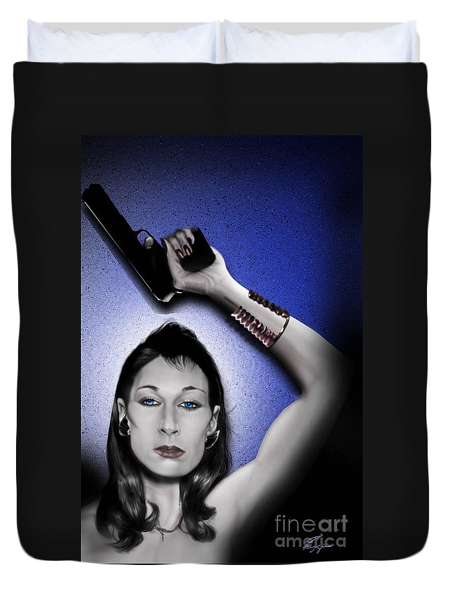 Ms. Huston Duvet Cover featuring the painting Wait Till They Get A Look At Me by Reggie Duffie
