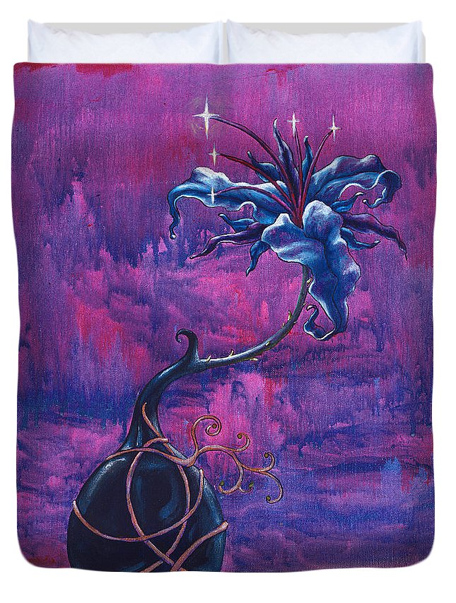 Lily Duvet Cover featuring the painting Waiting Flower by Jennifer McDuffie