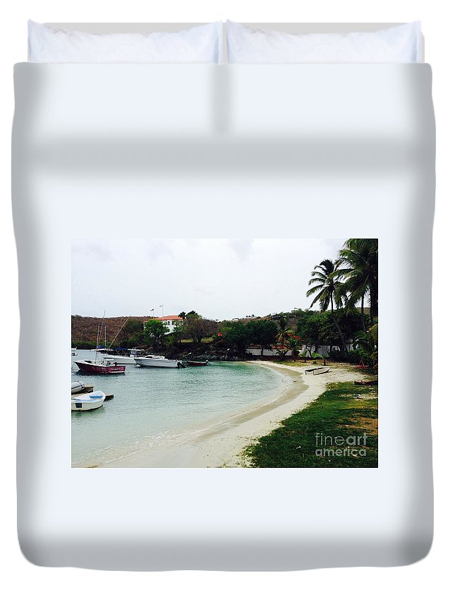 St. John Duvet Cover featuring the photograph Waiting For A Ride by Gina Sullivan