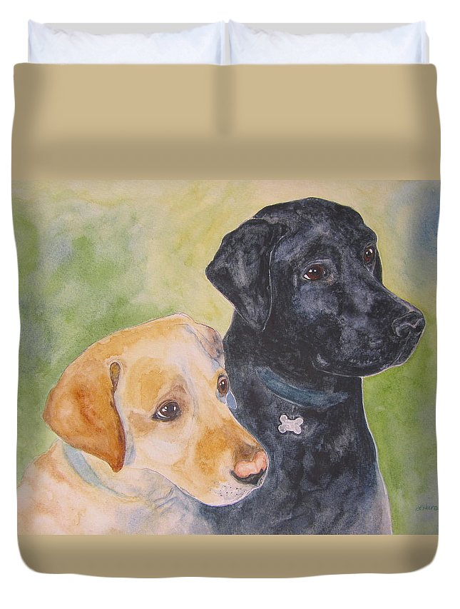 Yellow Lab Duvet Cover featuring the painting Waiting For A Treat by Laura Hansen