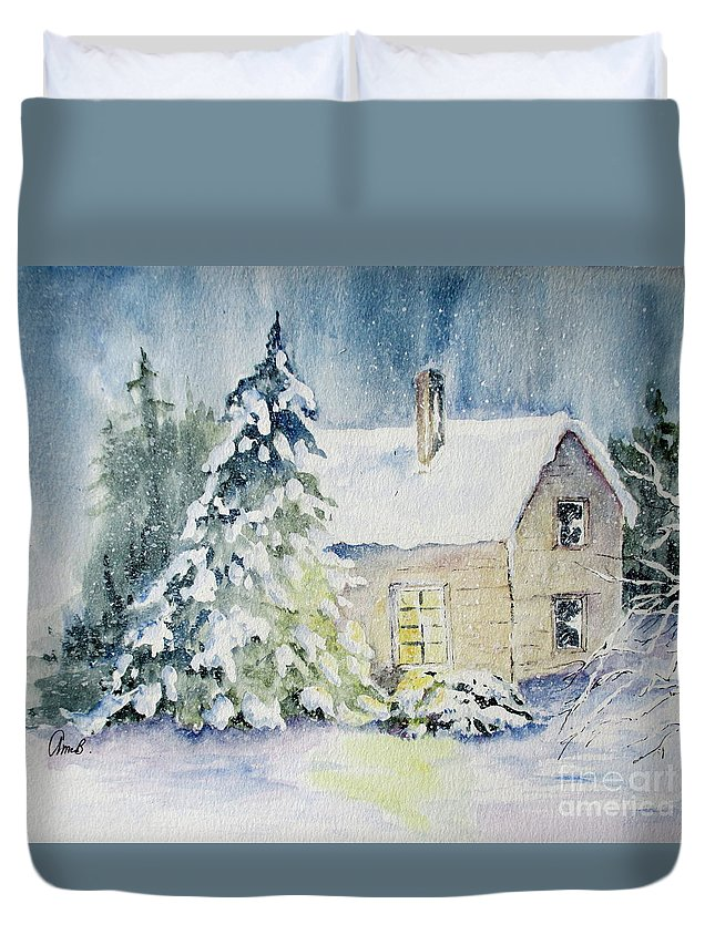 Winter Duvet Cover featuring the painting Waiting For A Visitor by April McCarthy-Braca