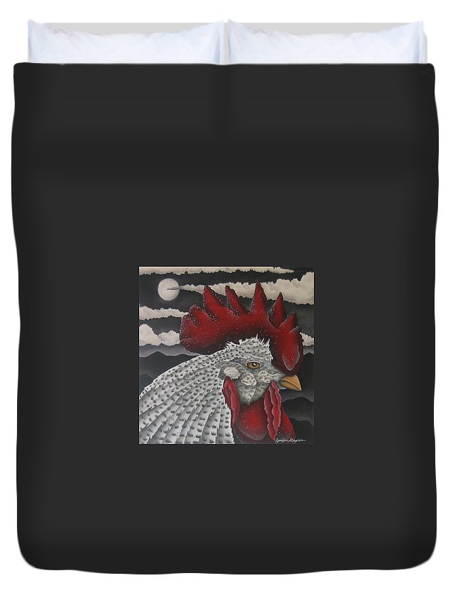 Rooster Duvet Cover featuring the painting Waiting For Daybreak by Jeniffer Stapher-Thomas
