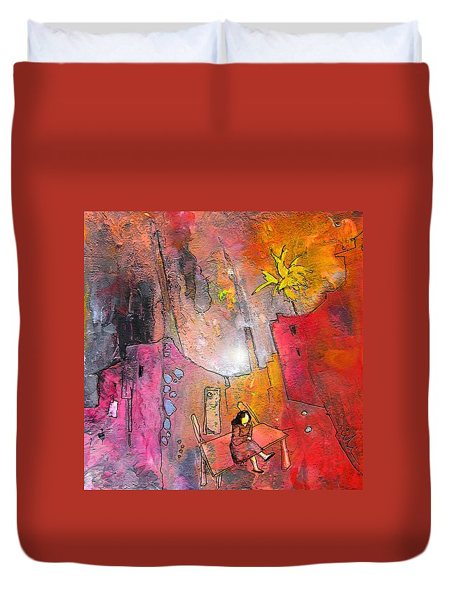 Acrylics Duvet Cover featuring the painting Waiting For Godot by Miki De Goodaboom