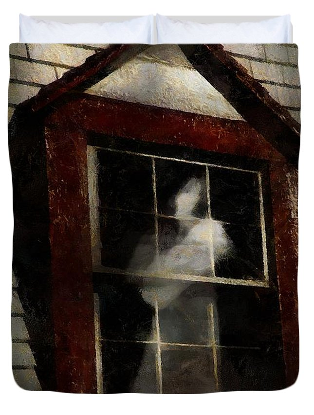Window Duvet Cover featuring the painting Waiting For Henry by RC DeWinter