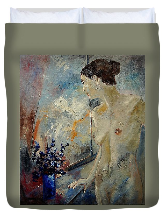 Girl Duvet Cover featuring the painting Waiting For Her Lover by Pol Ledent
