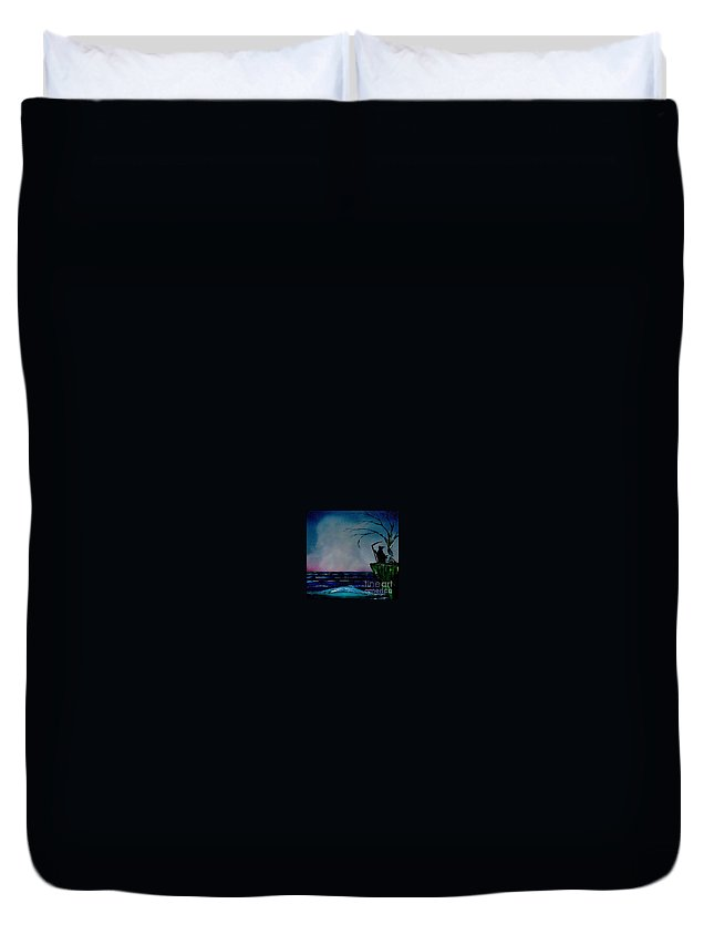 Duvet Cover featuring the painting Waiting For Life's End by Dell Justice