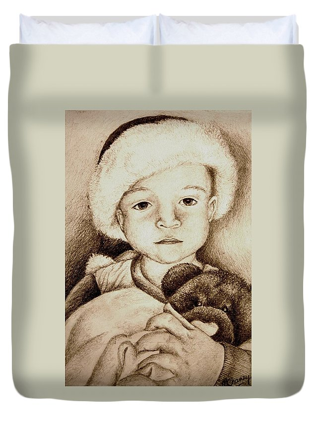 Santa Duvet Cover featuring the drawing Waiting For Santa by Melissa Wiater Chaney