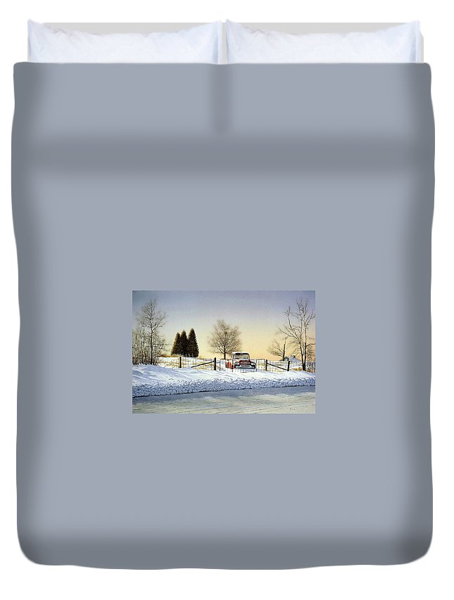 Landscape Duvet Cover featuring the painting Waiting For Spring by Conrad Mieschke