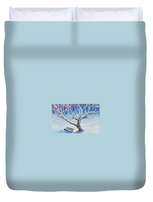 Snow Duvet Cover featuring the painting Waiting For Spring by Ruth Kamenev
