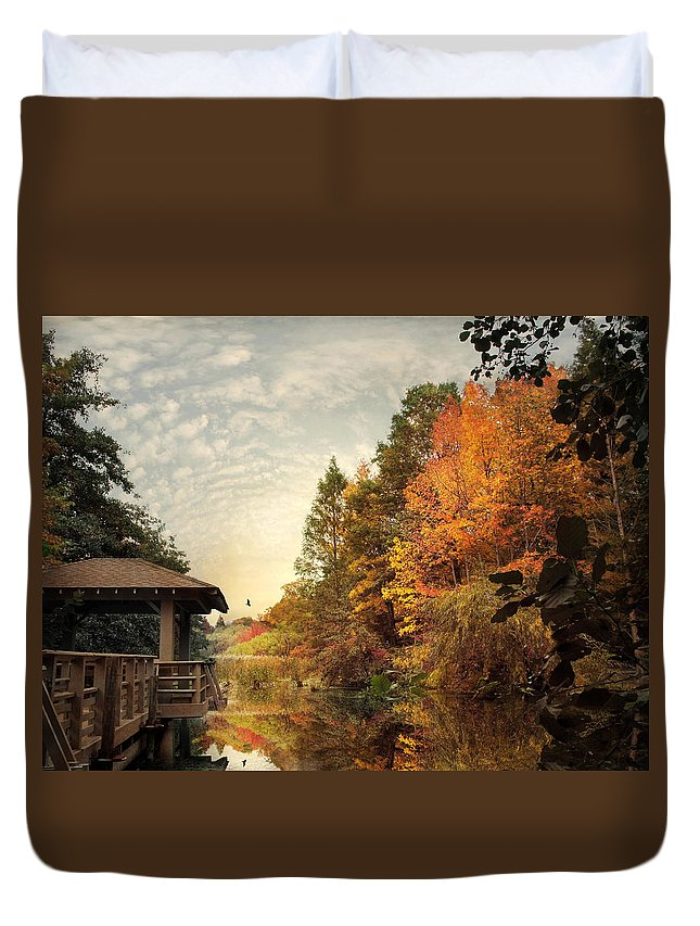 Nature Duvet Cover featuring the photograph Waiting For Sunset by Jessica Jenney