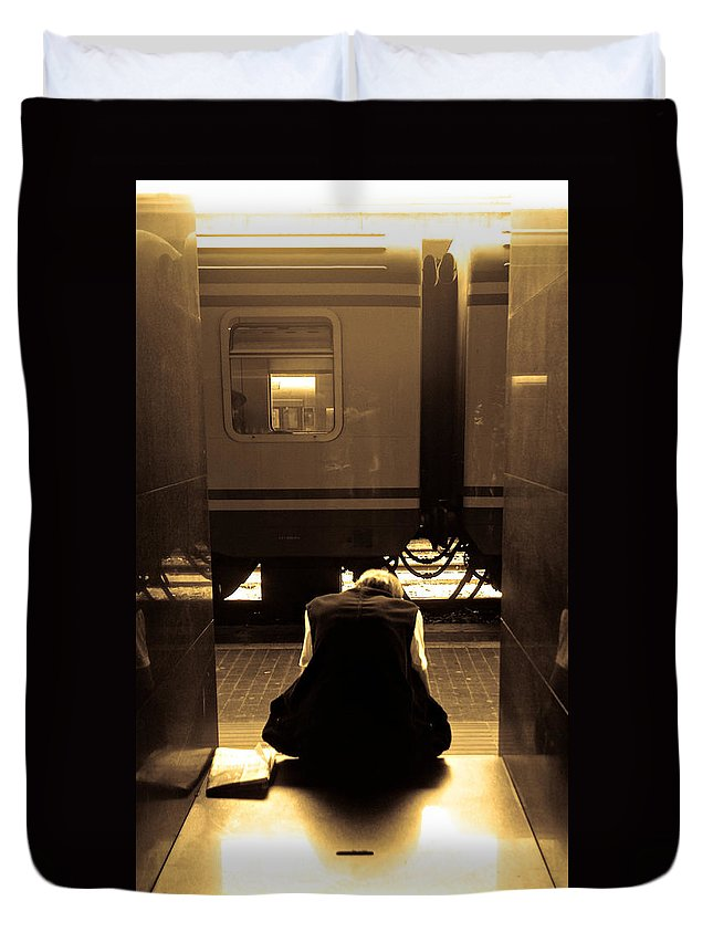 Train Duvet Cover featuring the photograph Waiting For The Train by Scott Sawyer