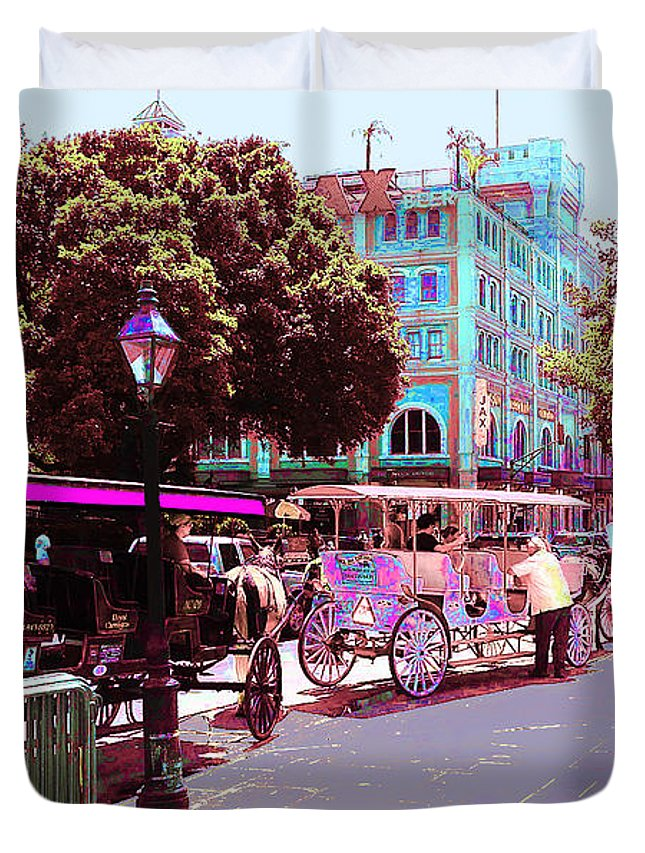 New Orleans Duvet Cover featuring the digital art Waiting For Tourists by CHAZ Daugherty