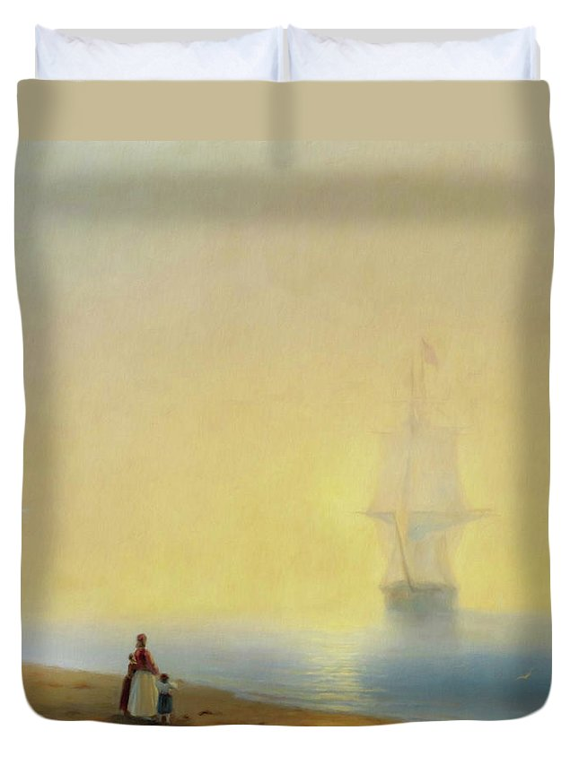 Waiting For Your Return Duvet Cover featuring the mixed media Waiting For Your Return by Georgiana Romanovna