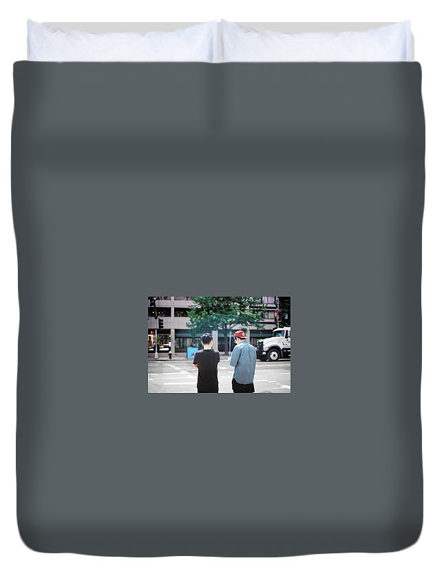 Boston Duvet Cover featuring the photograph Waiting by Harry Meletiadis