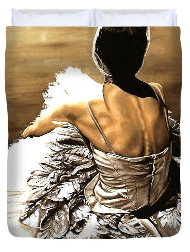 Ballet Duvet Cover featuring the painting Waiting In The Wings by Richard Young