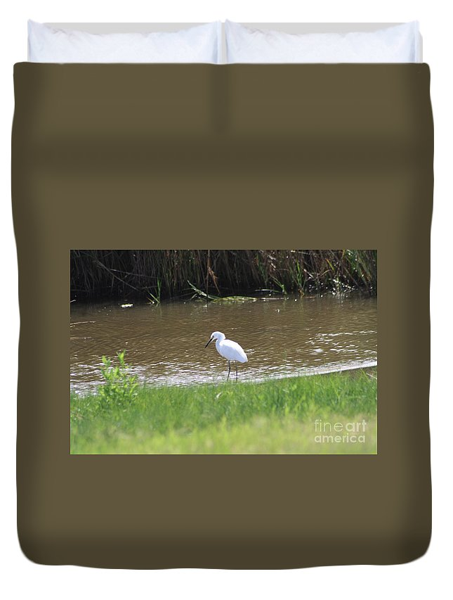 White Duvet Cover featuring the photograph Waiting by John W Smith III