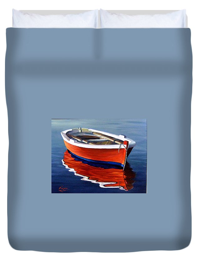 Seascape Water Boat Reflection Ocean Sea Duvet Cover featuring the painting Waiting by Natalia Tejera