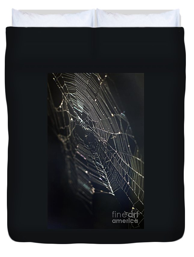 Spider Webs Duvet Cover featuring the photograph Waiting... by Norman Andrus
