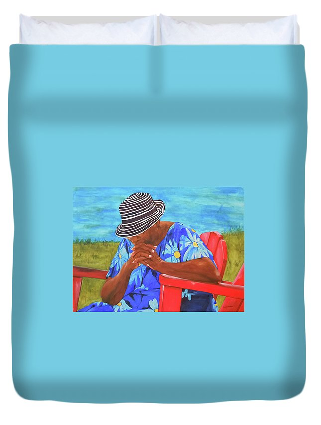 Caribbean Duvet Cover featuring the painting Waiting Patiently by Jean Blackmer