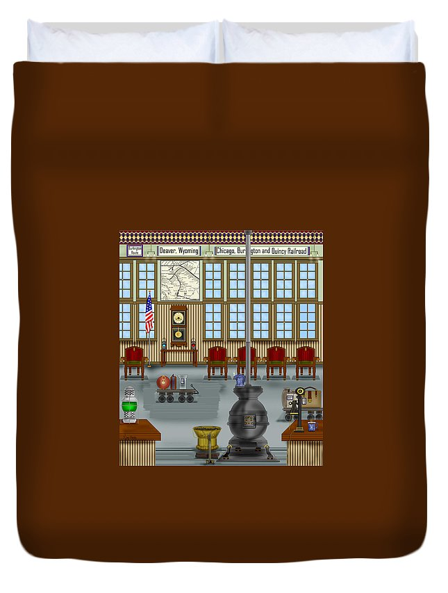 Realism Duvet Cover featuring the painting Waiting Room At The Depot by Anne Norskog