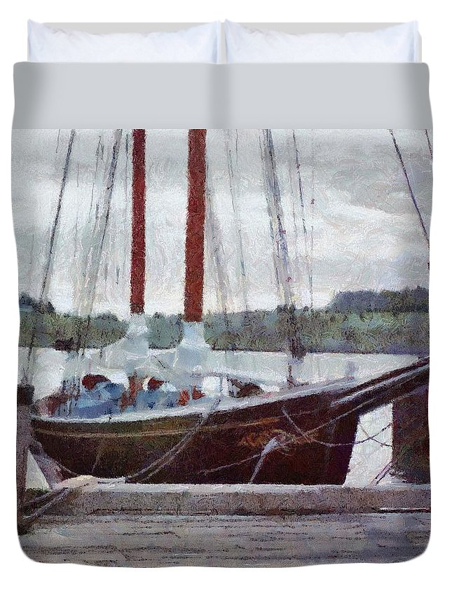 Canadian Duvet Cover featuring the painting Waiting To Sail by Jeffrey Kolker