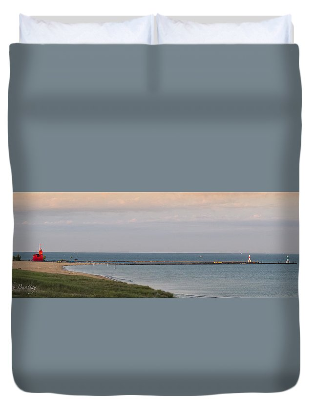 Big Red Lighthouse Duvet Cover featuring the photograph Wake Up Call by Becky Bunting