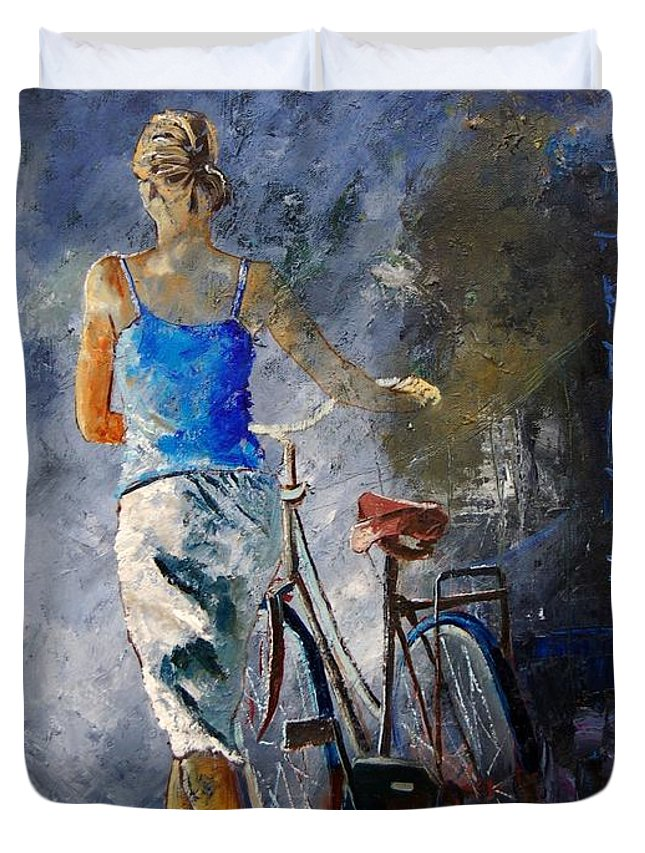 Girl Duvet Cover featuring the painting Waking Aside Her Bike 68 by Pol Ledent
