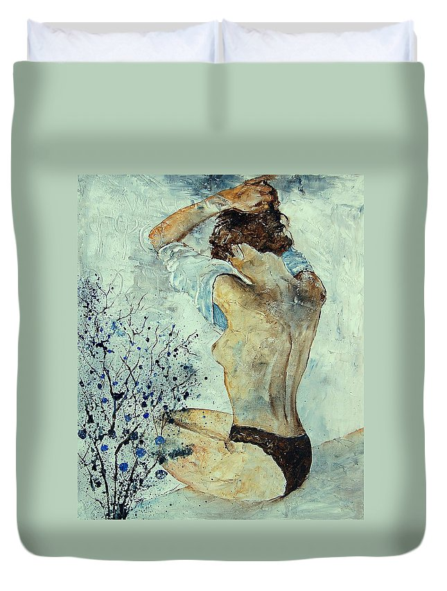 Nude Duvet Cover featuring the painting Waking Up by Pol Ledent